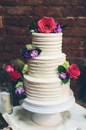 Classic Buttercream Cake with Jewel-Tone Flowers
