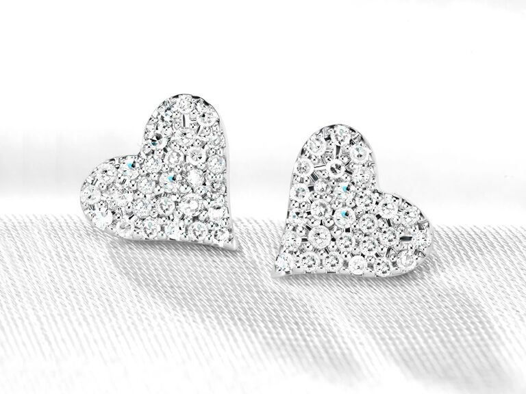 Pavé diamond silver heart stud earrings