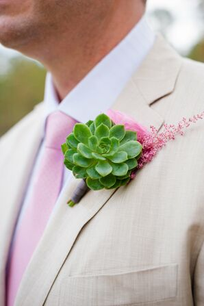 Light Green Succulent Boutonniere with Soft Pink Accent