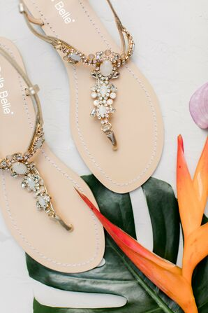 Glam Blush and Gold T-Strap Sandals