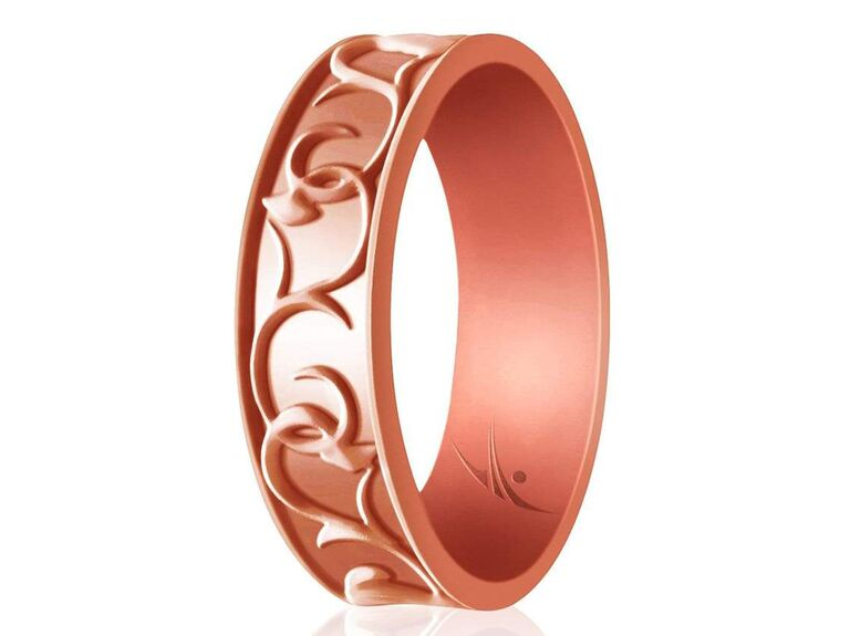 Rose gold ornamental textured silicone wedding band