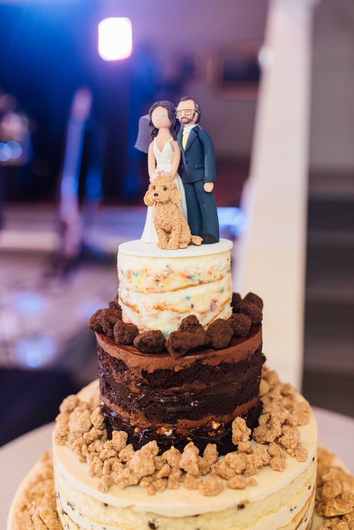 Milk Bar-Style Naked Cake with Custom Topper of Couple and Pet