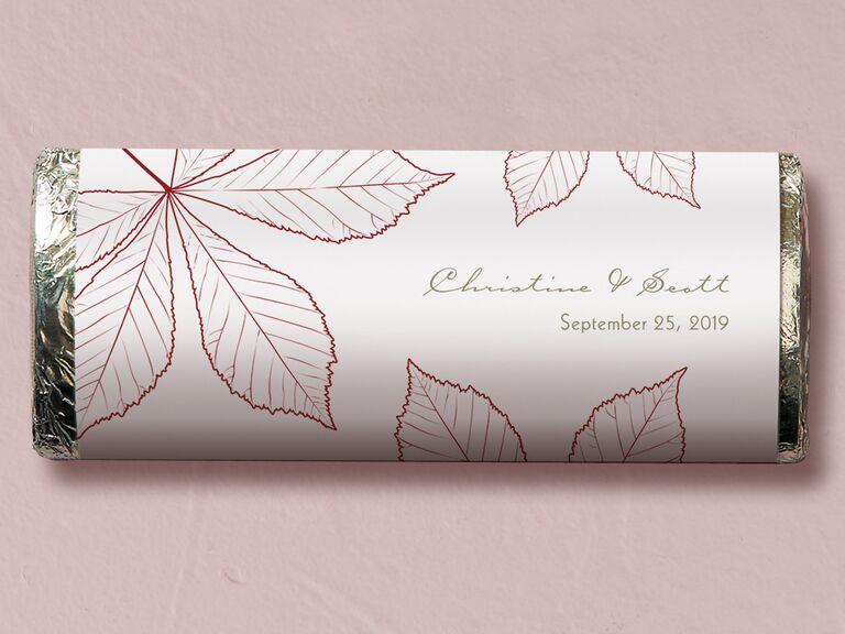 Fall chocolate bar wedding favor