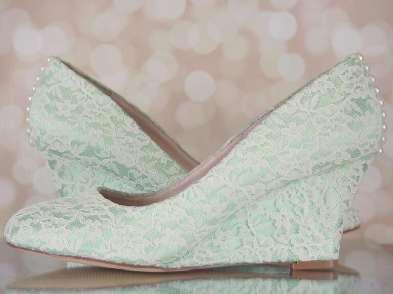 lace green wedding wedges