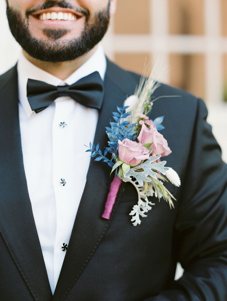 Pink, Purple and Blue Boutonniere for Missouri Wedding