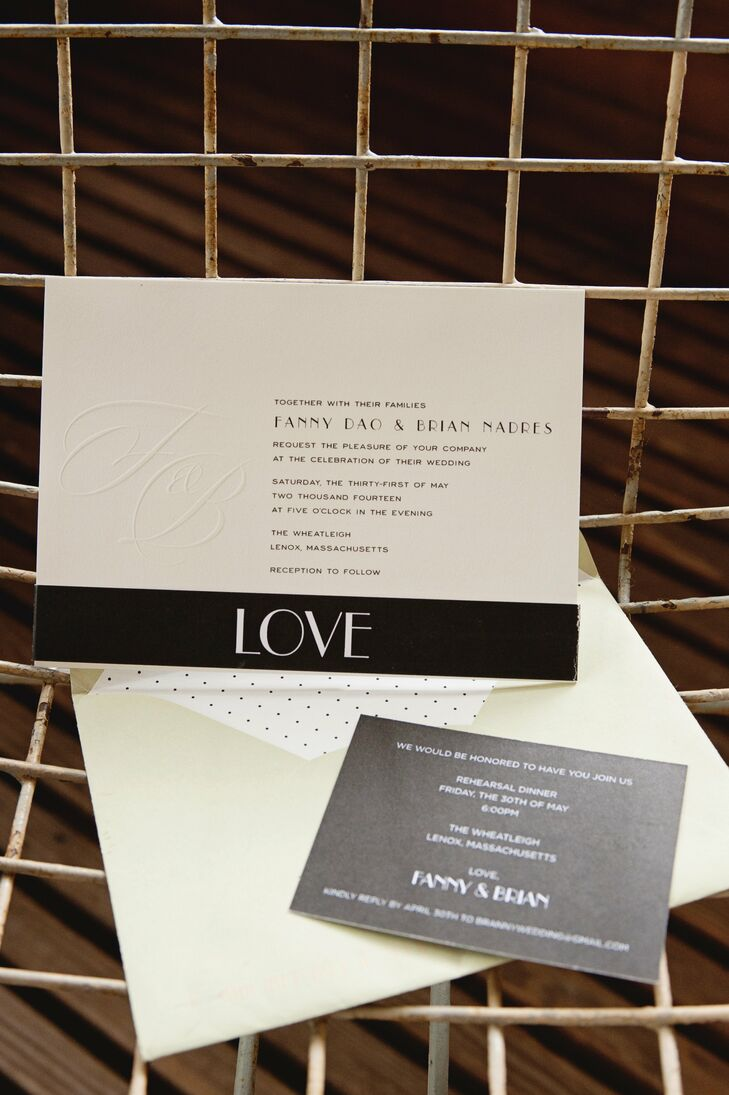 Fanny and Brian chose simple modern invitations in ivory with black thermography for their wedding. A black bellyband with the word LOVE held together all of the suite's components.