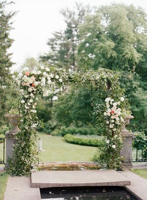 Elegant Garden Wedding Arch with Leaves and Flowers