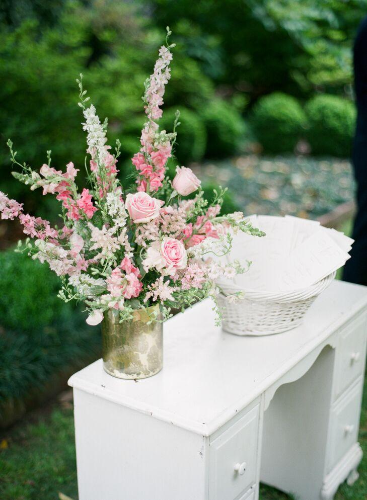 Pink Rose and Delphinium Flower Arrangement
