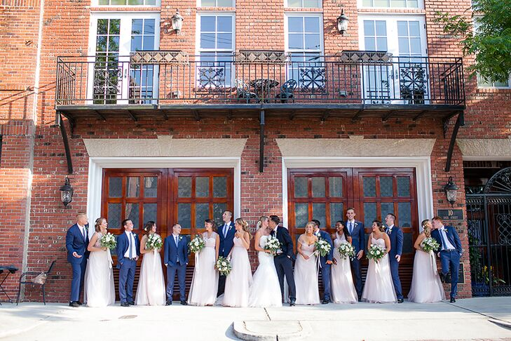 Christi ad Tanner knew that having a sophisticated wedding they could look back on and admire in years to come was very important to them. Instead of going with some of the trendier looks, the pair stuck to a simple palette and dressed the wedding party in classic-cut navy suites and floor-length gowns.