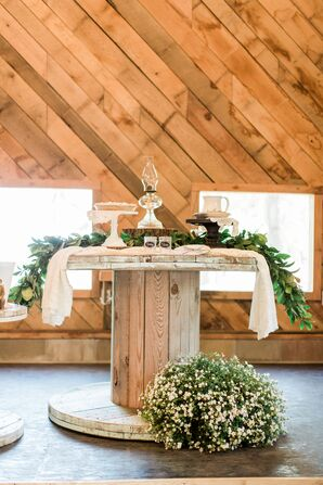 Rustic Wood Dessert Table with Greenery