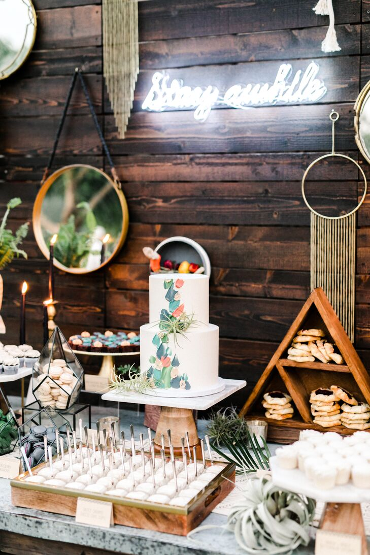 Tiered Cake with Painted Detail and Desert Table Decorated with Air Plants