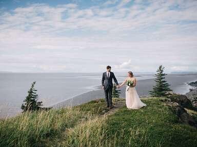wedding couple on top of the mountain