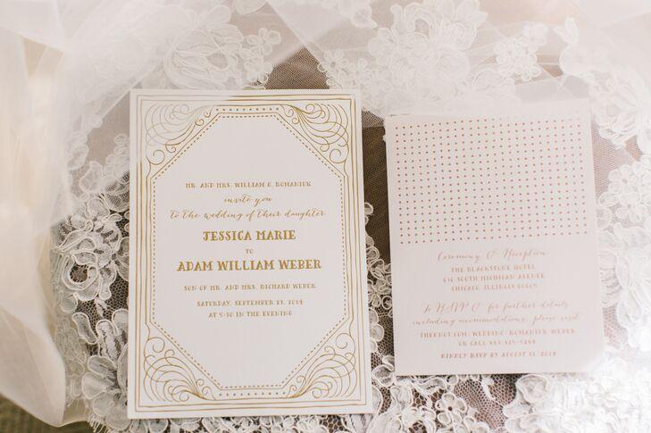 White and Gold Invitation Suite