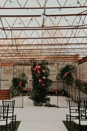 Tropical Ceremony Setup at The Hudson in Wichita, Kansas