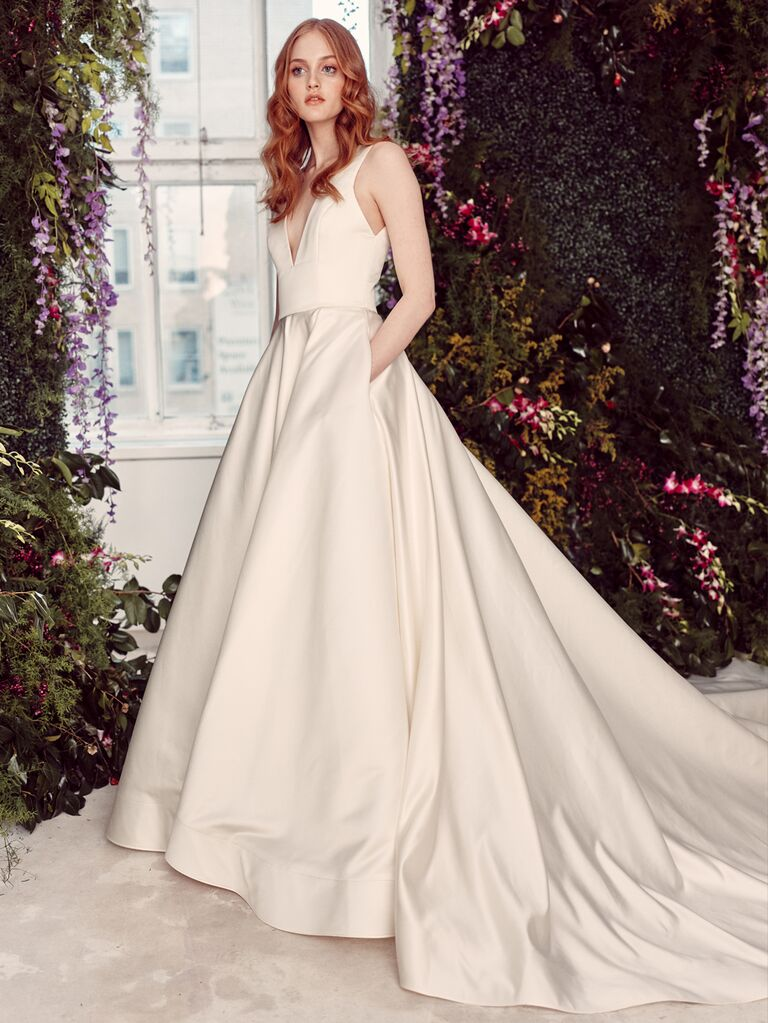 Alyne by Rita Vinieris Spring/Summer 2020 Bridal Collection sleeveless A-line wedding dress with train