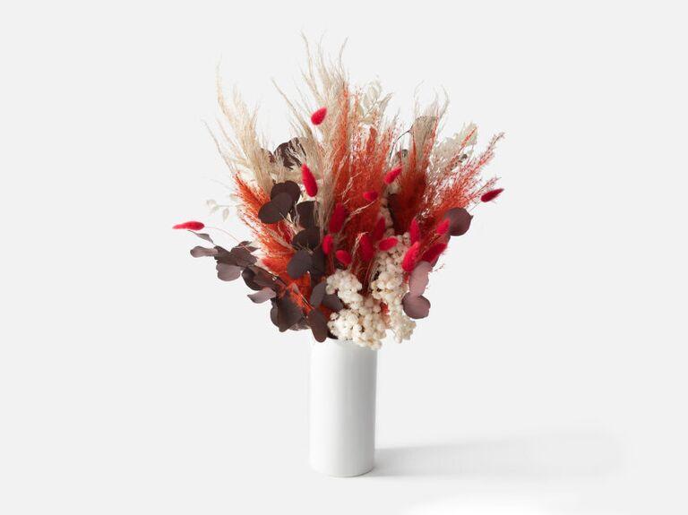 Dried bouquet in white vase Valentine's gift idea