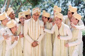 Groomsmen in Gold Traditional Indian Kurtas and Sherwanis