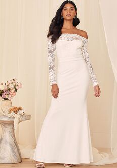 Lulus Can You Feel It White Lace Off-the-Shoulder Mermaid Maxi Dress Mermaid Wedding Dress