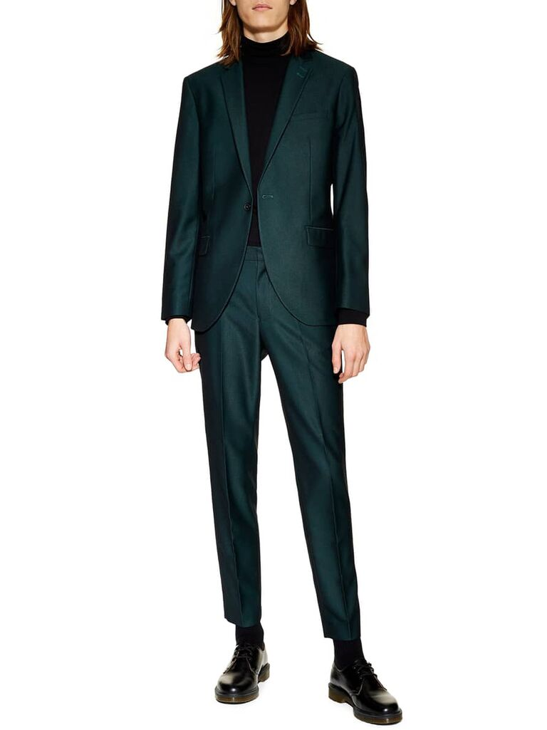 Green suit for formal wedding