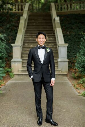Groom in Tuxedo at Cator Woolford Gardens in Atlanta