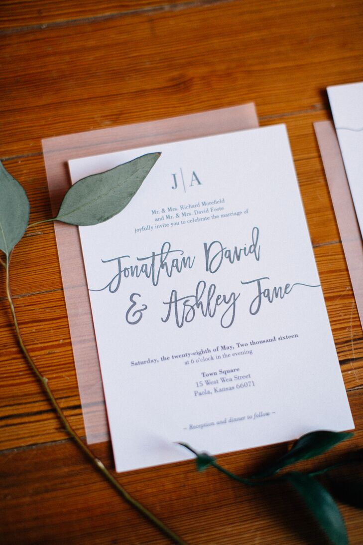 """Ashley, who studied graphic design in college, designed the  invitations as a stacked look, where each piece of stationery fit together as a set when opened. She then had her design printed by letterpress at Hammerpress in Kansas City, Missouri. """"The printing technique is so timeless and classic,"""" she says. """"It brought dimension to the simplicity of the design."""""""