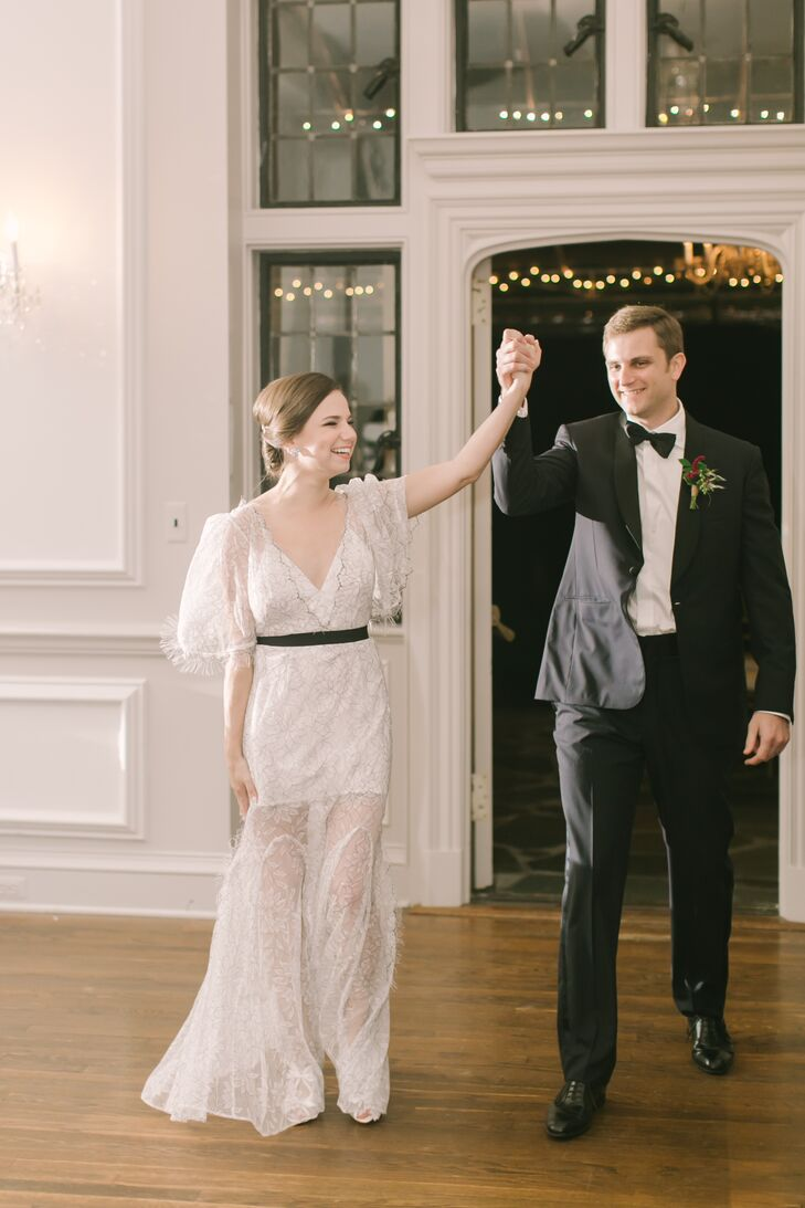 Bride in Short Dress with Sheer Lace Overlay