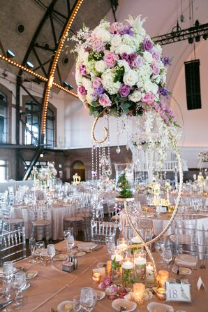 Glam Cascading Crystal and Rose Centerpiece