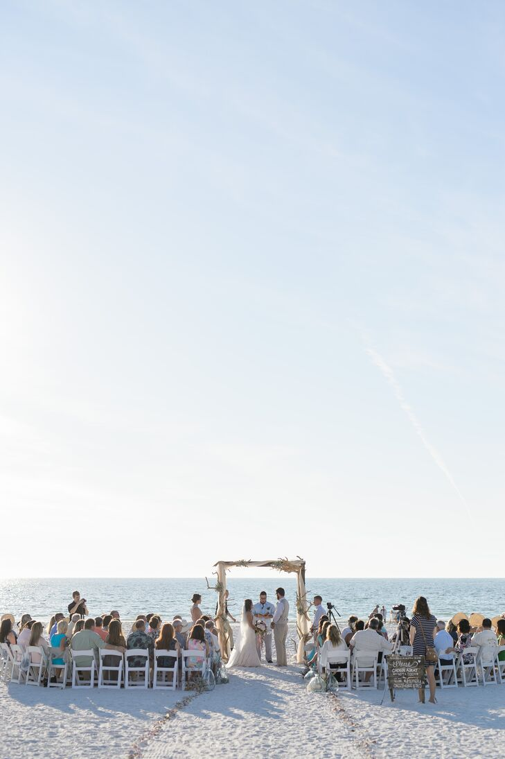 The couple gathered their friends and family along the shoreline for a short and sweet ceremony that focused on their love for each other. The outdoor ceremony at Marco Beach Ocean Resort in Marco Island, Florida, was accompanied by a steel drummer.