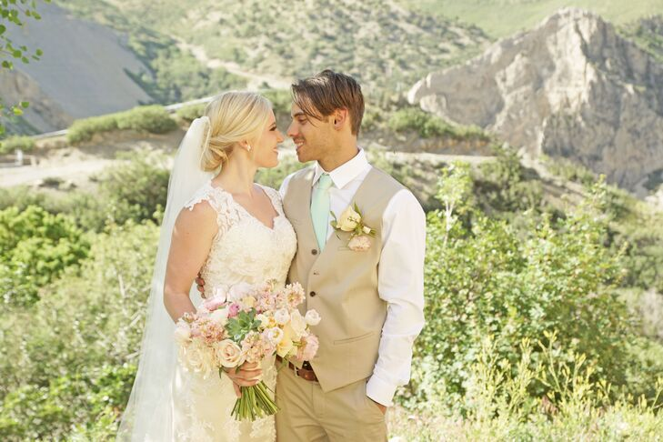 """Ashlee and Dallan knew they wanted an outdoor wedding, and Louland Falls in Salt Lake City, Utah, surrounded by mountains and greenery, was too pretty to pass. """"Everybody that came to our wedding commented on how beautiful the venue was,"""" Ashlee says."""