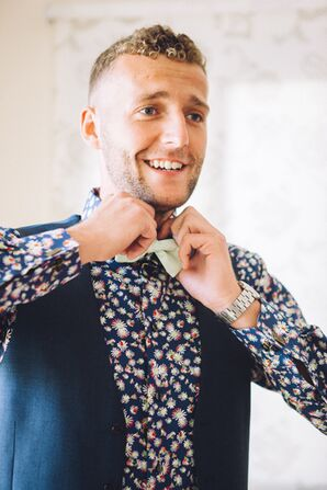Custom Floral Groom's Shirt with Bow Tie