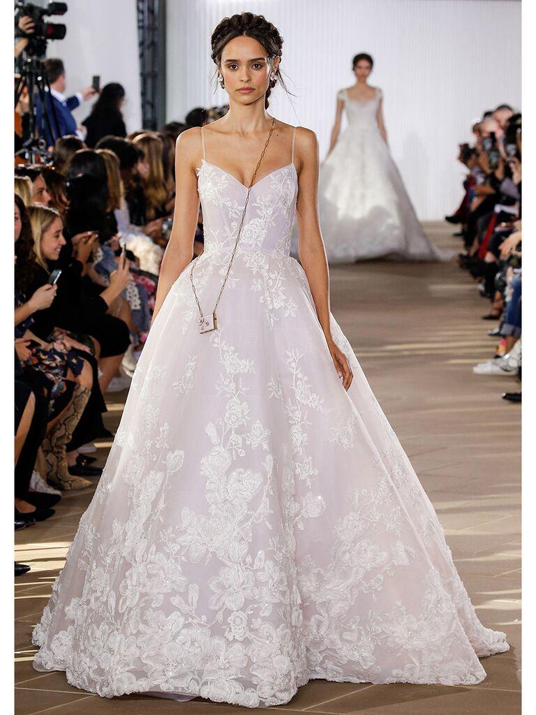Ines Di Santo wedding dress spaghetti strap floral ball gown