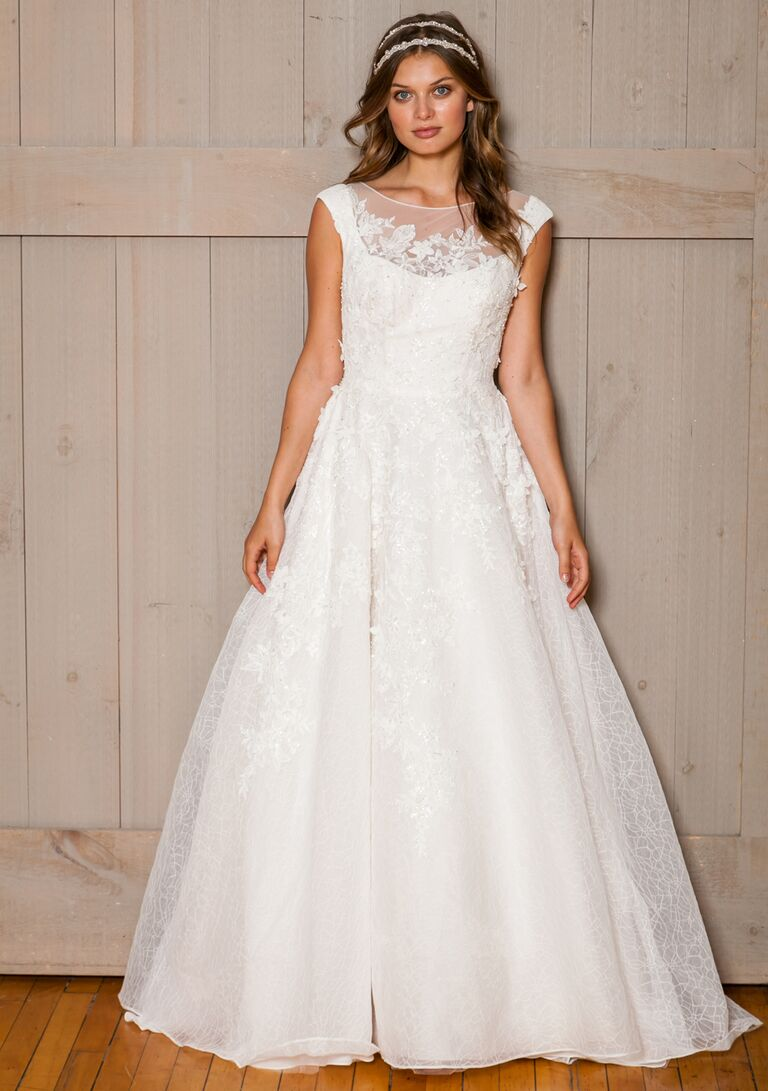 David S Bridal Fall 2016 Cap Sleeve A Line Wedding Dress With Fl Liqué