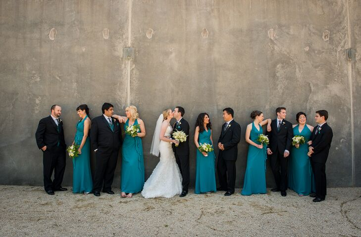 Teal And Black Wedding Party