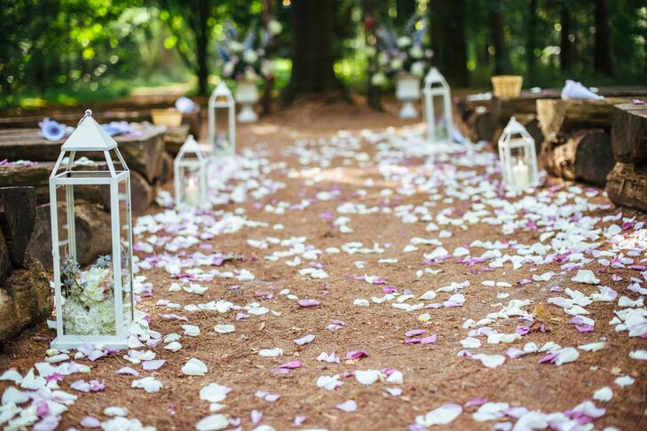 White Candle Lantern And Rose Petal Aisle Decor