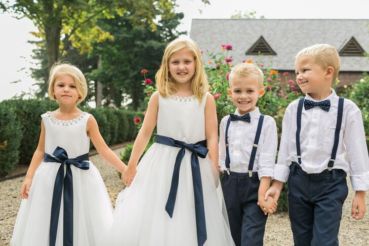 Ribbon-Accented Flower Girl Dresses and Polk Dot Bow Ties