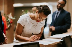 Bride Signing a Marriage License at Ann Arbor City Hall