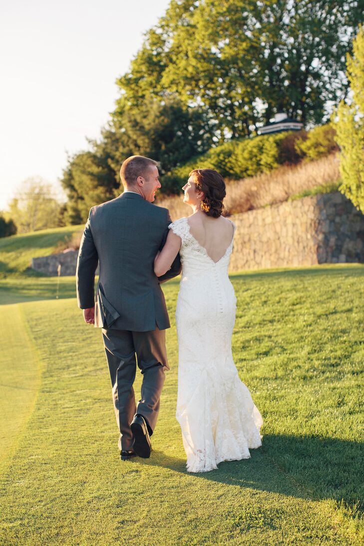 """""""Looking at countless wedding dresses in magazines, I knew I was drawn to lace and I also knew that I wanted something that wasn't strapless,"""" says Juli."""