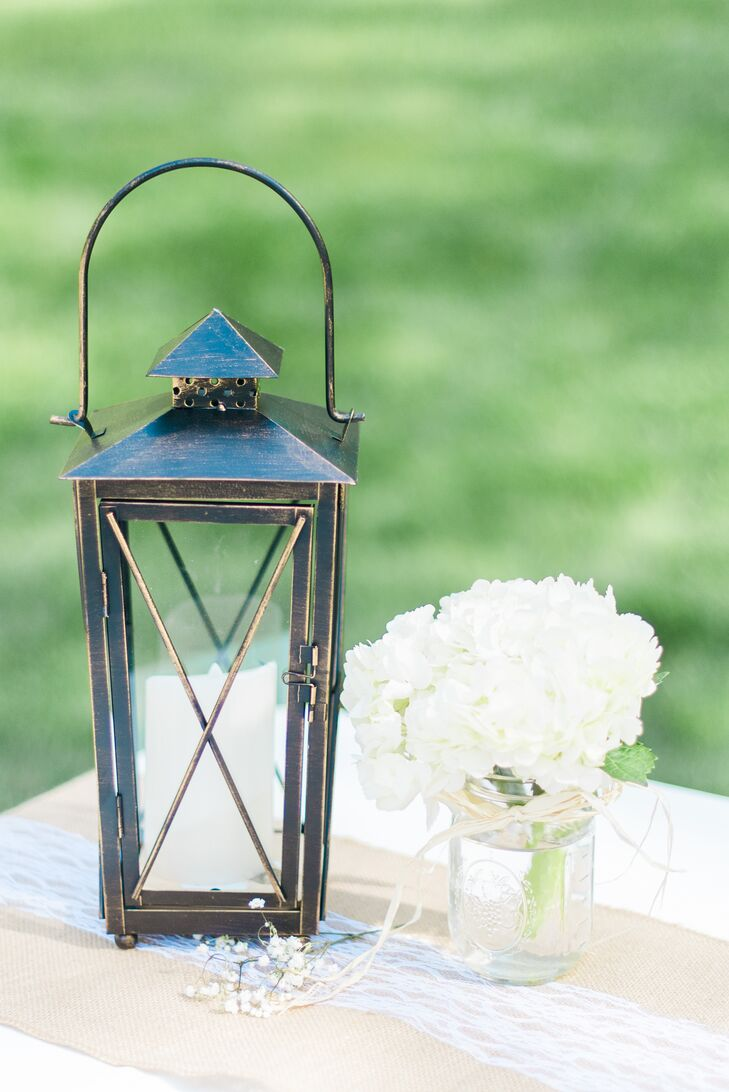 Lantern and Mason Jar Centerpieces