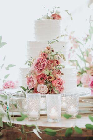 Tiered White Wedding Cake with Romantic Pink Flowers