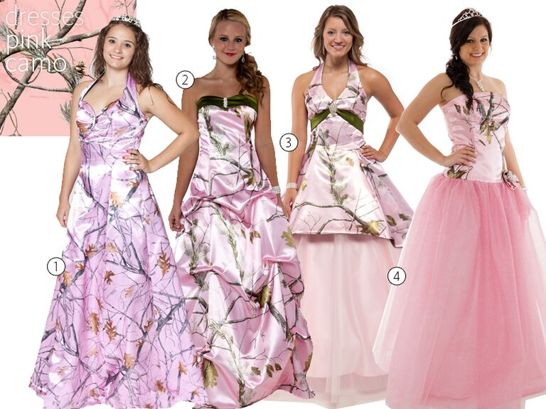 4 Pink Camo Wedding Dresses