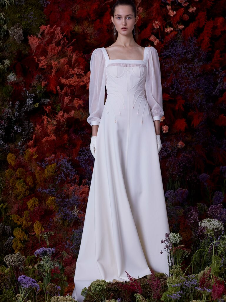 EDEM A-line dress with sheer long sleeves and bustier bodice