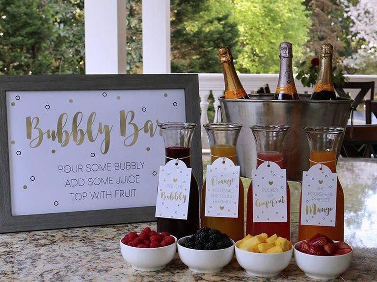 Decorative mimosa bar signage