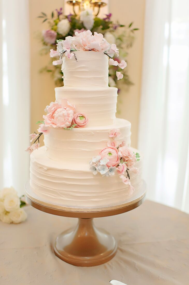 Classic Round Three-Tier Buttercream Cake with Ranunculus Cake Flowers