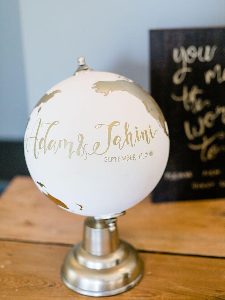 Custom Gold Globe Guest Book