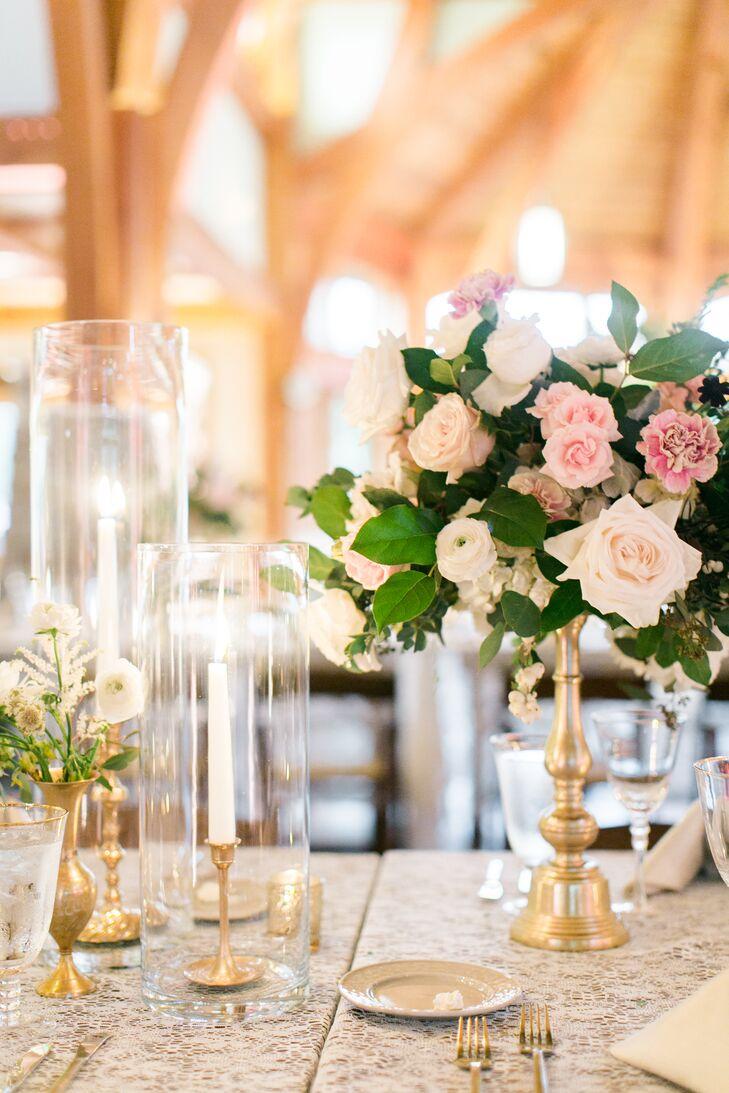 Romantic Blush Rose and Ranunculus Centerpieces