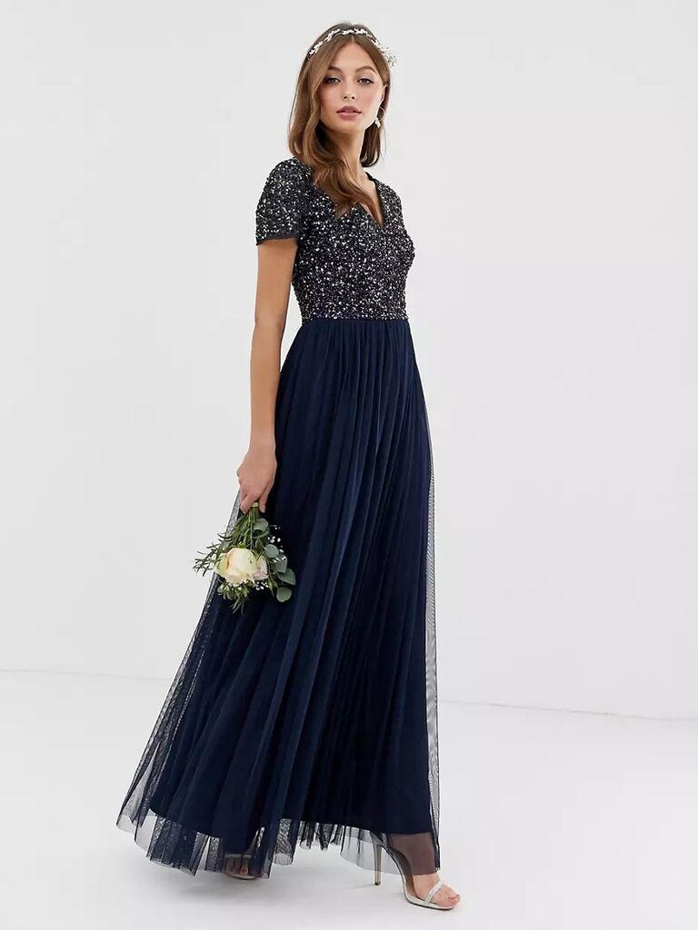 asos navy sequin winter bridesmaid dress