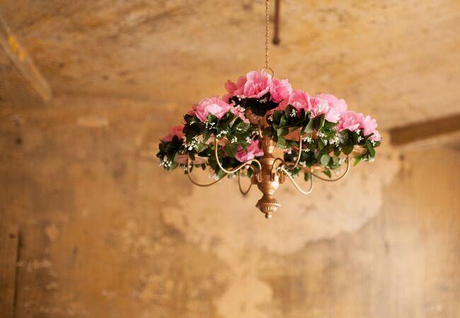 Romantic Pink Floral Chandelier Wedding Decor | La Candella Weddings | Blog.TheKnot.com