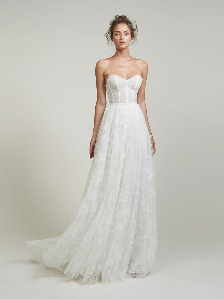 Lihi Hod wedding dress strapless a-line gown with floral detail