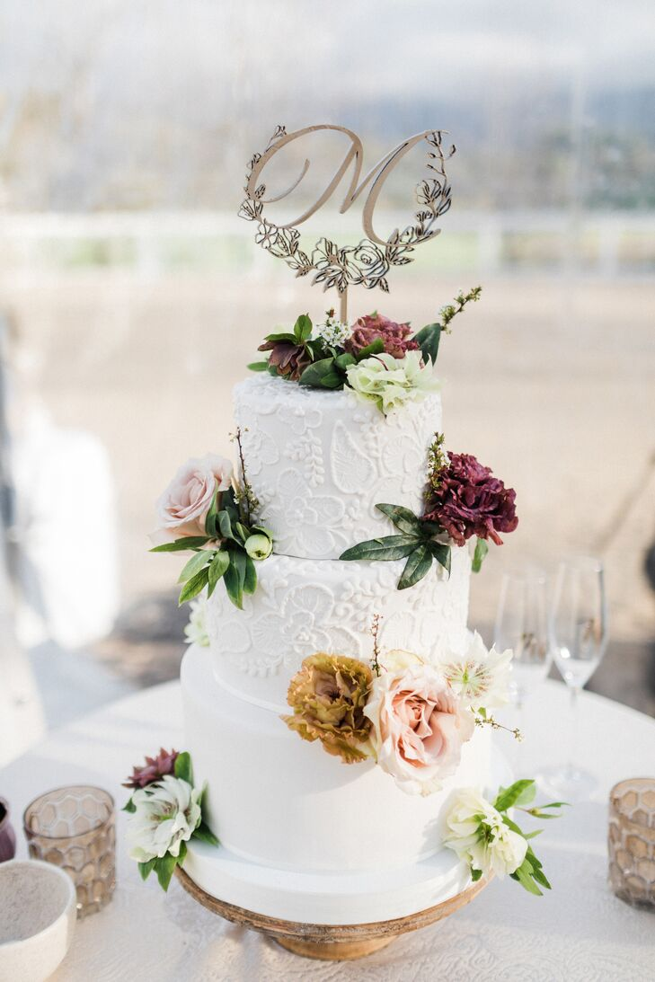 Three-Tier Fondant Cake With Floral Piping