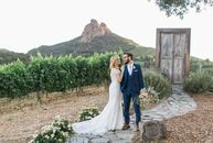 "Robyn Schneider and Daniel Inkeles's early spring soiree was a rustic vineyard affair with playful literary and travel-inspired details.<br><br>""The t"